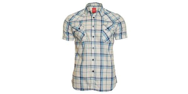 Pánska modro-biela kockovaná košeľa Chaser