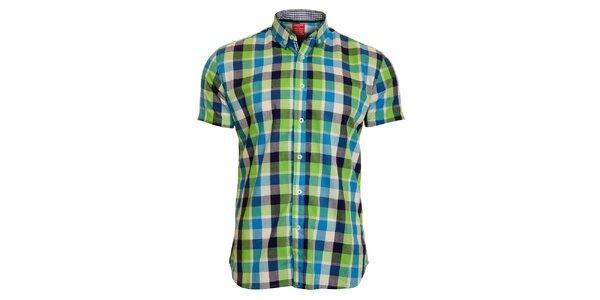 Pánska zeleno-modrá kockovaná košeľa Chaser