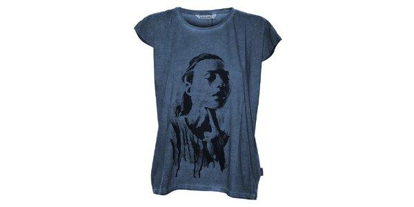 Dámske tmavo modré tričko Eleven Paris s potlačou