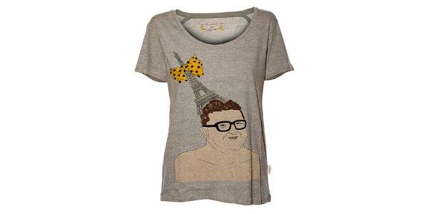 Dámske svetlo šedé melírované tričko Eleven Paris s potlačou