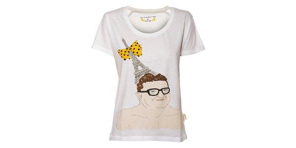 Dámske biele tričko Eleven Paris s potlačou