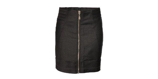 Dámska tmavo šedá vlnená mini sukňa Eleven Paris so zipsom