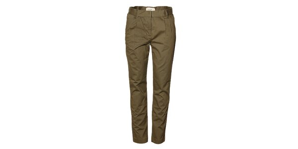 Dámske tmavo zelené naberané nohavice Eleven Paris