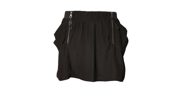 Dámska čierna mini sukňa Eleven Paris so zipsami