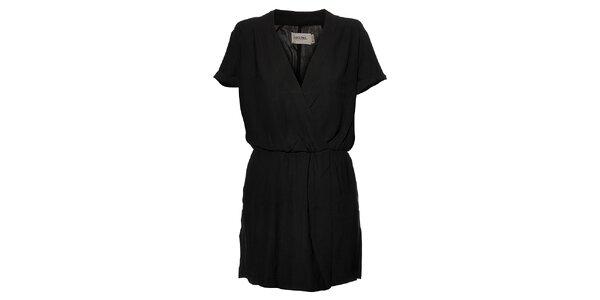 Dámske čierne naberané šaty Eleven Paris