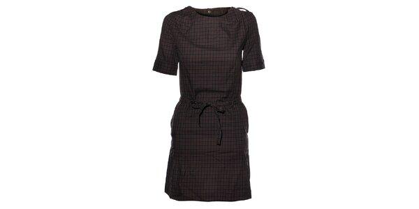 Dámske tmavo šedé kockované flanelové šaty Eleven Paris