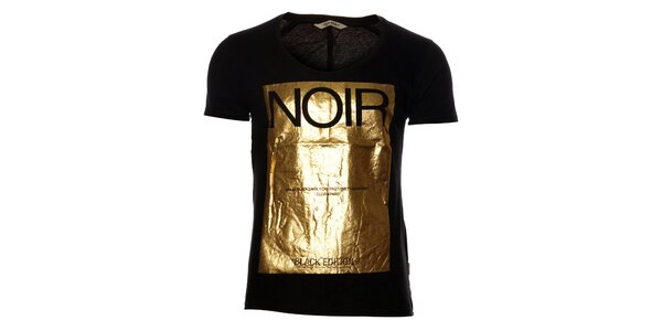 Dámske čierne tričko Eleven Paris so zlatou potlačou