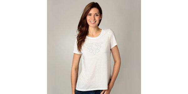 Dámske biele tričko s korálkovou aplikáciou Caramelo