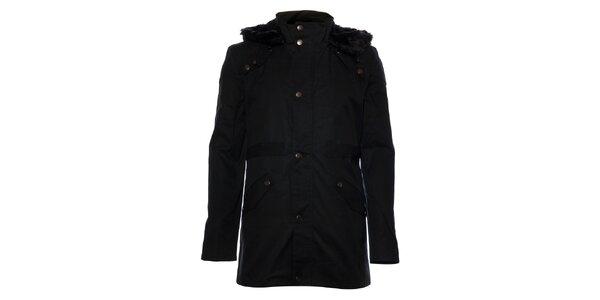 Pánsky čierny kabát Eleven Paris s kožušinkou