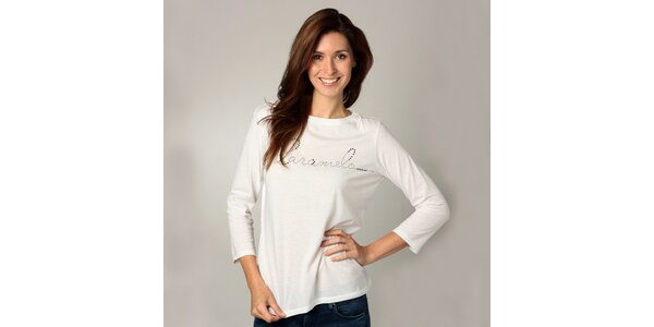 Dámske biele tričko s dlhým rukávom Caramelo