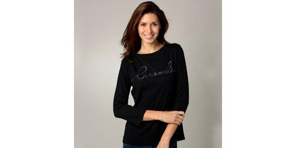 Dámske čierne tričko s dlhým rukávom Caramelo