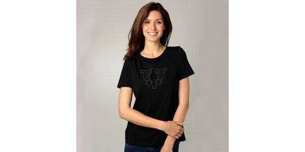 Dámske čierne tričko s korálkovou aplikáciou Caramelo