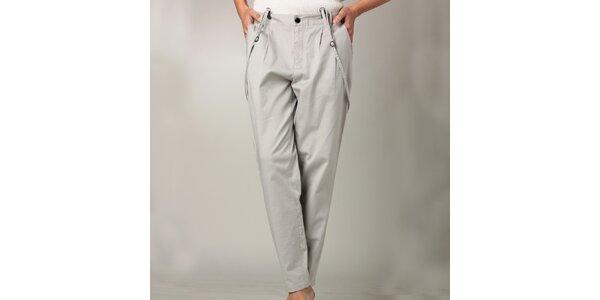 Dámske šedé nohavice s trakmi Caramelo