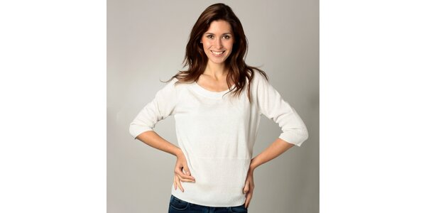 Dámske biele tričko s 3/4 rukávmi Caramelo