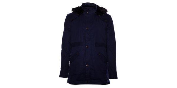 Pánsky tmavo modrý kabát Eleven Paris s kožušinkou