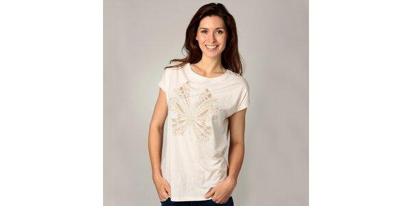 Dámske krémové tričko s potlačou Carmelo