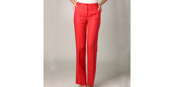Dámske červené ľanové nohavice Caramelo
