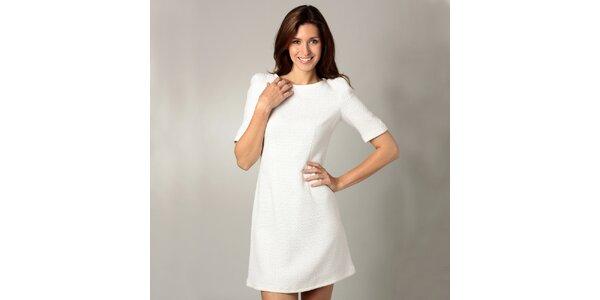 Dámske biele šaty s 3/4 rukávmi Caramelo