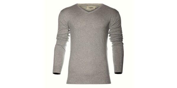 Pánsky svetlo šedý sveter Eleven Paris s potlačou