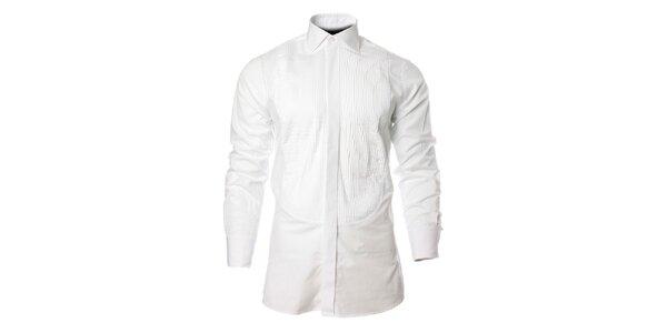 Pánska biela košeľa s vyrazeným prúžkom Carmelo