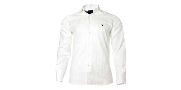 Pánska biela košeľa s dlhým rukávom a prúžkom Caramelo