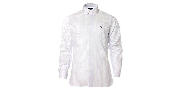 Pánska biela košeľa s prúžkom Caramelo