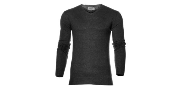 Pánsky tmavo šedý sveter Eleven Paris s potlačou