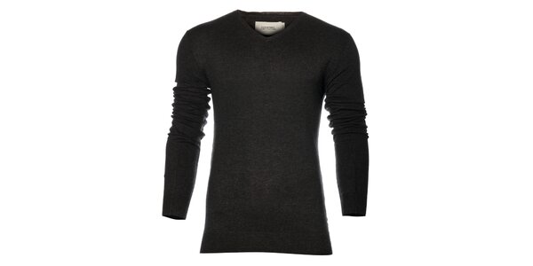 Pánsky čierny sveter Eleven Paris s potlačou