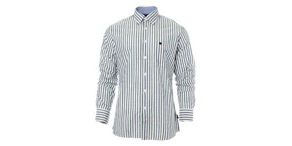 Pánska zeleno-modrá prúžkovaná košeľa Caramelo