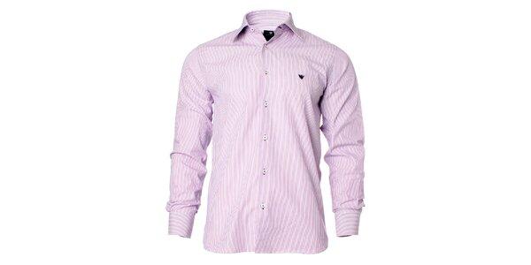 Pánska fialovo-biela košeľa s prúžkami Caramelo