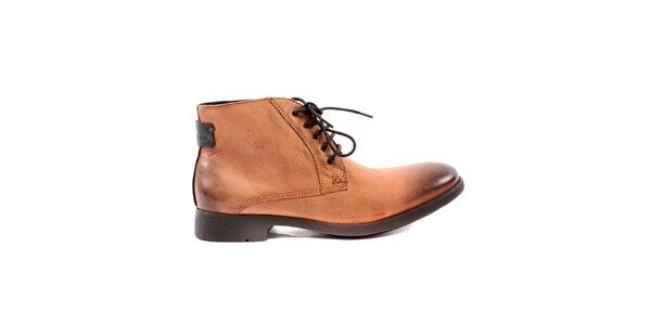 Pánske orieškovo hnedé kožené topánky Caramelo