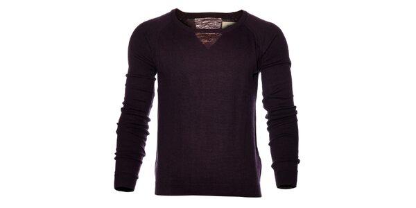 Pánsky tmavo fialový sveter Eleven Paris s rozparkami