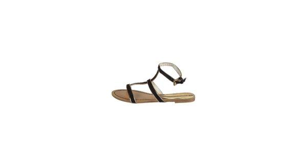 Dámske čierne sandálky Drastik so zlatým lemom