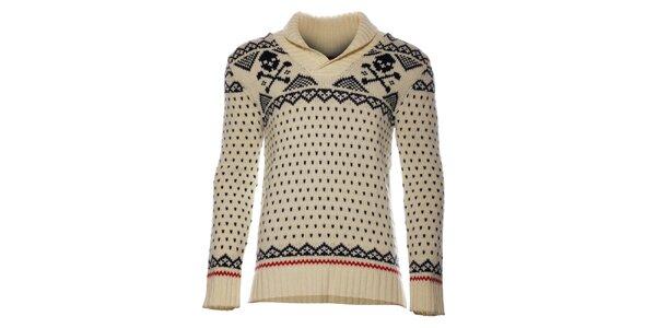 Pánsky krémový sveter Eleven Paris s vypletaným vzorem