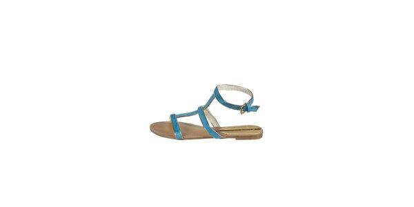 Dámske svetlo modré sandálky Drastik so zlatým lemom