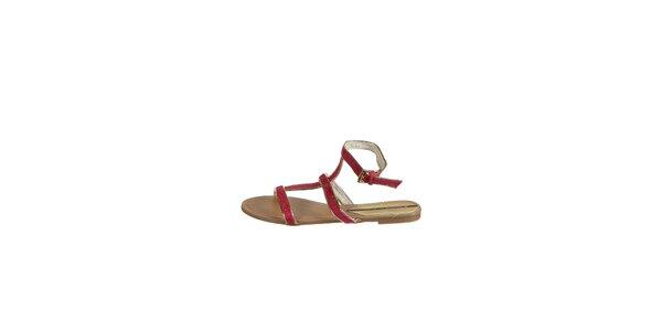 Dámske fuchsiové sandálky Drastik so zlatým lemom