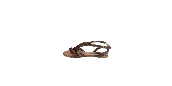 Dámske tmavo hnedé prepletané sandálky Drastik