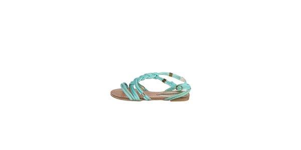 Dámske tyrkysové prepletané sandálky Drastik