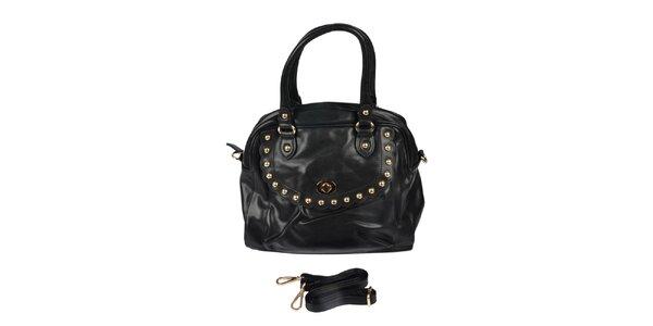 Dámska čierna retro kabelka so zlatými cvočkami Marina Galanti