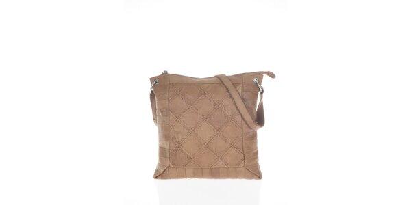 Dámska béžová kabelka so štvorcovým vzorom Marina Galanti
