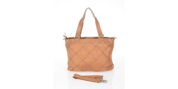 Dámska ťavia kabelka so štvorcovým vzorom Marina Galanti