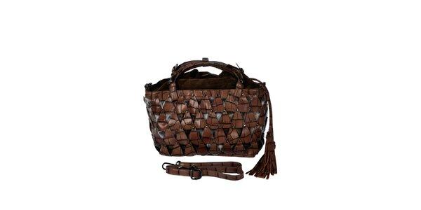 Dámska hnedá kabelka s efektným vzorom Marina Galanti
