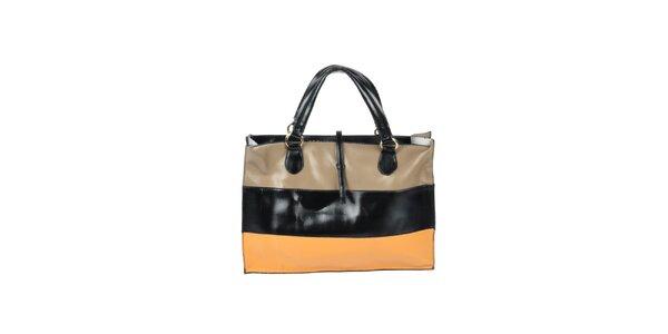 Dámska čierno-oranžovo-béžová pruhovaná kabelka Marina Galanti 14a0216d3ab