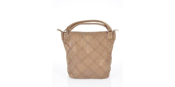 Dámska tmavo béžová kabelka so štvorcovým vzorom Marina Galanti