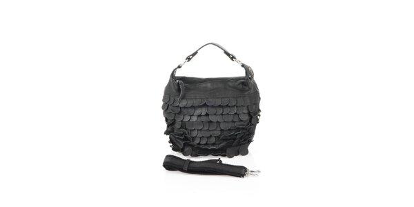 Dámska čierna kožená kabelka s koženými polkruhmi Marina Galanti