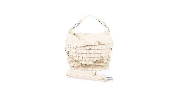 Dámska béžová kožená kabelka s koženými polkruhmi Marina Galanti