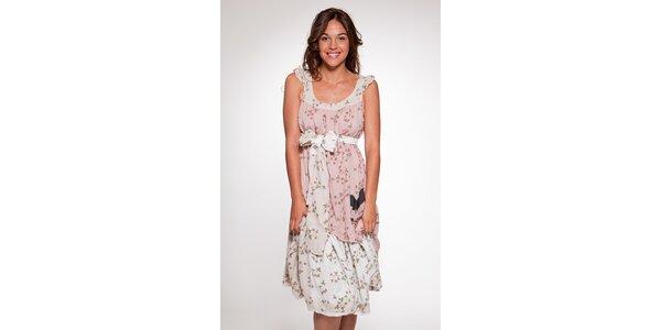 Dámske bielo-ružové vzorované šaty Ian Mosh