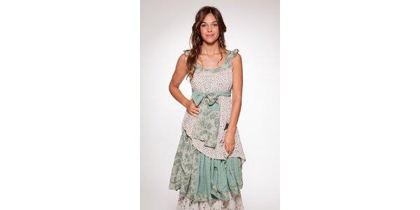 Dámske zeleno-krémové vzorované šaty Ian Mosh