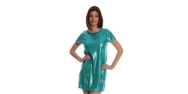 Dámske tyrkysové metalické šaty Cristian Lay