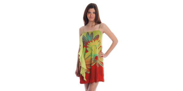 Dámske zeleno-červené šaty Cristian Lay s veľkými kvetmi